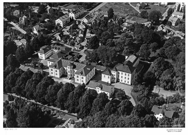 Flygbild över Gamla stan, gamla lasarettet