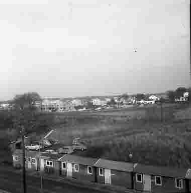 """Utskikt från nya sjöbefälsskolan mot öster """"Getingen"""" 27/10 1961"""
