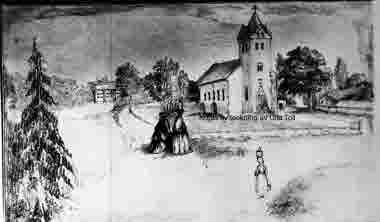 Ljungby kyrka, teckning av Ulla Toll. Kopia av Blomberg 1938