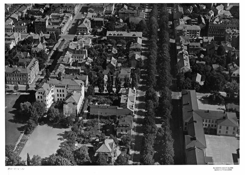 Flygbild över Malmen, bl.a. Esplanaden